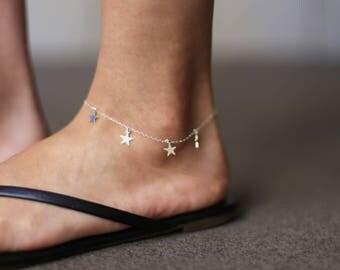 Dangle Star Anklet // Ankle Bracelet // Thin Simple Anklet