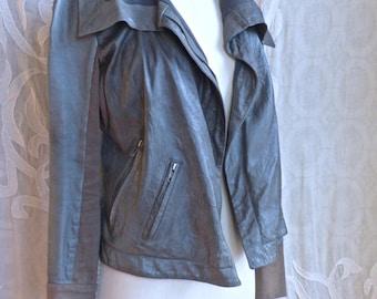 Soft Grey Leather Jacket