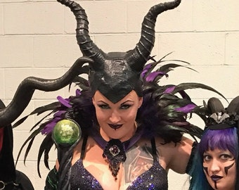 Maleficent Horns with REAL LEATHER cowl
