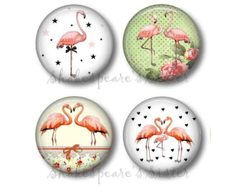Pink Flamingo Magnets - Refrigerator Magnets - Set of 4 - 1.5 Inch Magnets - Flamingo Kitchen Decor