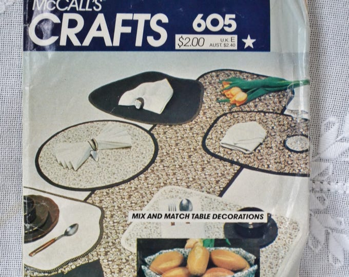 McCalls 605 Sewing Pattern Table Linen Craft Package  DIY Fashion Sewing Crafts PanchosPorch