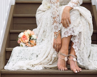 Eleanor Barefoot Sandals in Gold Destination Wedding Shoes Beach Wedding Sandals Rhinestone jewelry Foot Jewelry for Bride Foot Thong Anklet