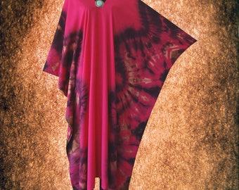 Symmetric Bleached Wearable Art Tie dye V neck Kaftan Caftan dress