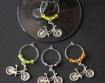 Bicycle Wine Glass Charms-Set of 4-BIKE004-4