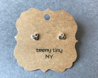Silver Tiny Pretzel Stud Earrings - Sterling Silver