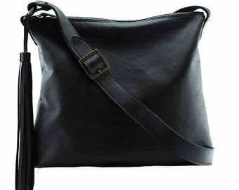 Real black leather bag purse | Soho | black leather bag for women, black leather crossbody bag, custom bags, bag with tassel, gift for her