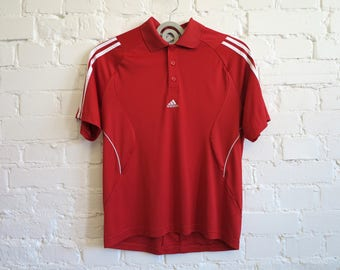 Red Adidas T Shirt Adidas Polo Shirt Mens Shirt Short Sleeves Stretchy Shirt Sport Chemise Clima T-Shirt Medium Size