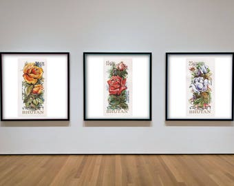 Postage Wall Art: Set of 3 Bhutan Flowers Stamp Prints - New Stamp Enlarged Reproductions