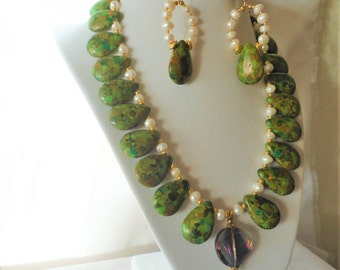 Stunning Green Turquoise FW Pearls Necklace Set****.