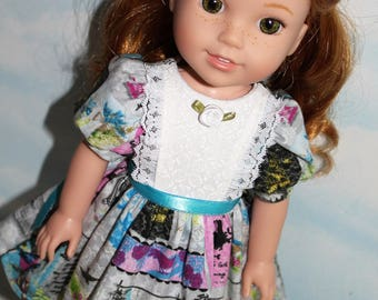 14.5 Inch Doll (like Wellie Wishers) Gray & Aqua Birdcage Print Puff Sleeve Dress with White Inset Panel and Rosette