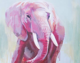 a boho whimsical abstract elephant painting in pastels acrylic purple, pink and blue, mid century, farmhouse, jungalow