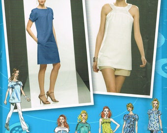 Size 4-12 Misses Dress & Tunic Top Sewing Pattern - Sleeveless Tunic Top Pattern - Puff Sleeve Dress Pattern - Short Dress - Simplicity 2922