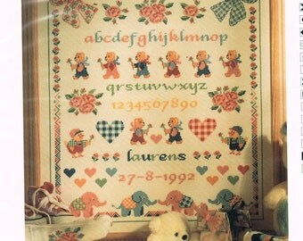 CROSS STITCH PATTERN - Teddy Bear & Bows Birth Announcement Cross Stitch - Baby Birth Record Pattern - Birth Sampler Cross Stitch