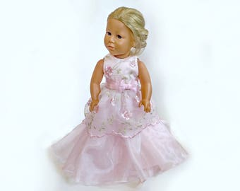 """Designer pink Princess Ball Gown for 18"""" Doll, American Girl Doll Dress Pearl Lace Bow"""