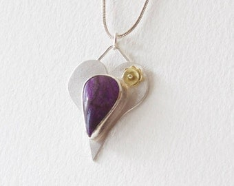 Sterling Silver and Gold Heart Pendant with Sugilite Cabochon, Heart with 18K Gold Flower, 20 Inch Sterling Silver Snake Chain ArtMetal