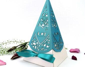 Rockabilly wedding pyramid favor box, Large laser cut favour, Retro personalised favour, Alternative wedding table decor, Psychobilly