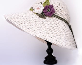 Hat and flowers, Choose SIZE and COLOR, Cotton and Linen, italian best quality yarn, handmade