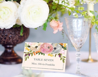 Wedding Place Card Printable Template - Place Cards - Escort Cards - Editable DIY Place Cards - Instant Download - Sweet Blooms