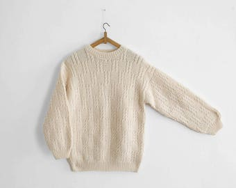 Vintage Hand Knitted Sweater - Garter/Cable Knit - Off White