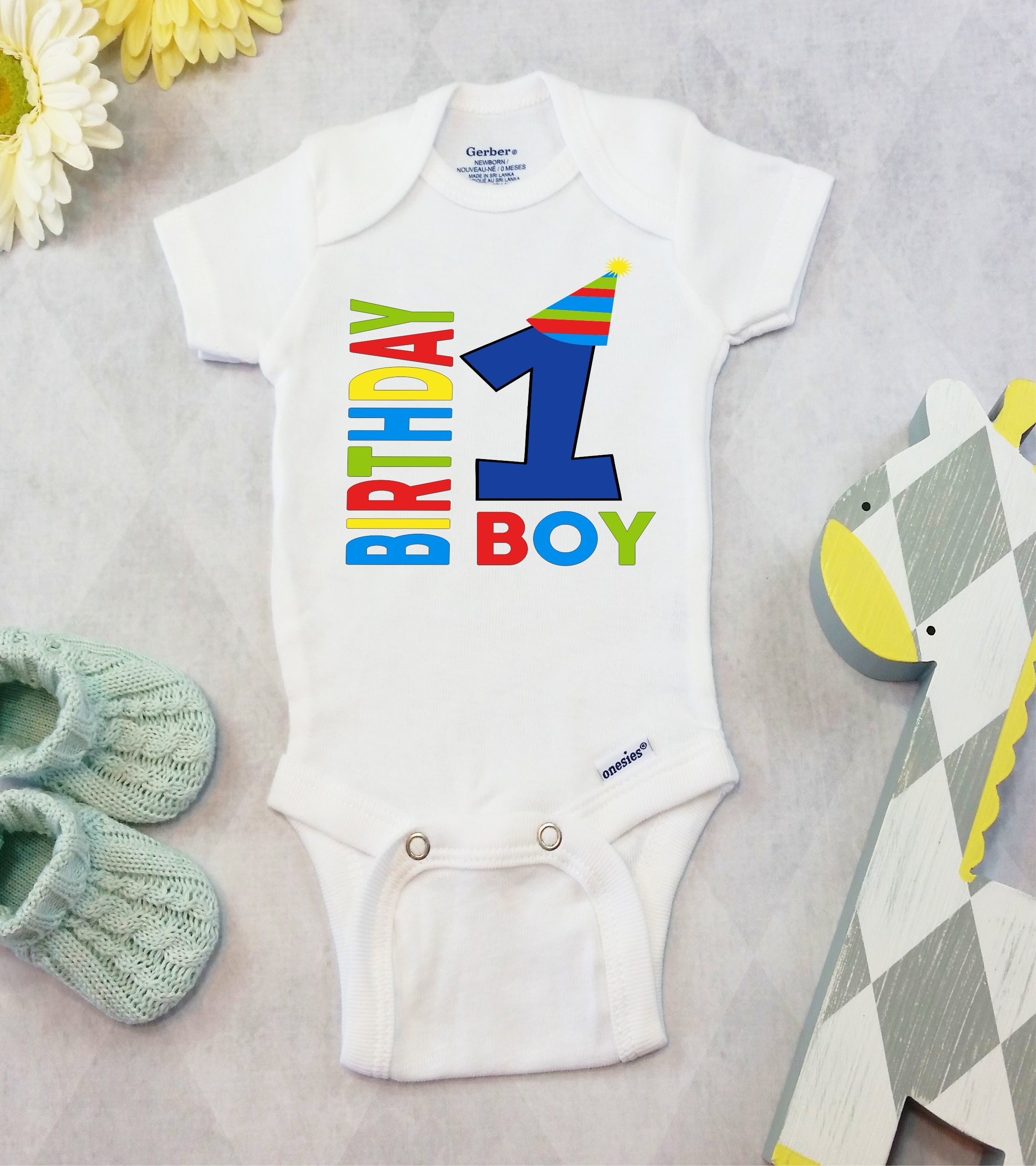 First Birthday Boy Onesies Brand Bodysuit Shirt Cute Boys 1st