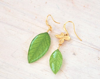 asymmetrical Dangle green earrings with real leaves of acacia - Gold jewelry - pressed flowers - real plant earrings- spring verdure