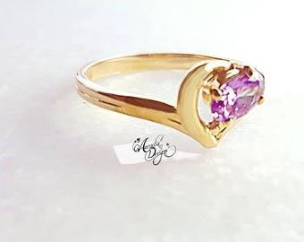Amethyst Gemstone Gold Ring. February Birthstone Lavender Crystal Ring One of a kind Art Deco Oval Gem Solitaire Ring | Jewelry Gift for Her