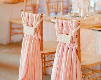 Braided Blush Pink Chiffon Chair Sash for Weaved style on Chiavari chair Romantic Bridal Chair Decoration for Bridal Shower Wedding Ceremony