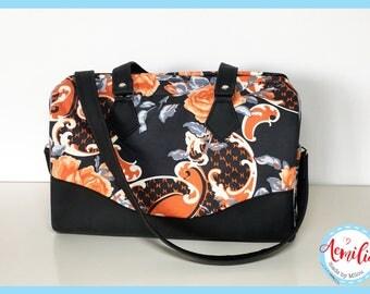Blanche barrel bag, handtas, ruim, bloemen, zwart, oranje, sierlijk, rozen