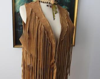 Vintage Handmade Suede Leather Fringe Vest Biker Rocker Native American Boho Style Unisex