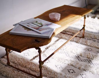 Oak Coffee Table, Copper Frame, Waney Edge, Live Edge, Pipe, Solid Wood, Industrial, Wood and Metal, Rustic