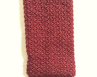 Vintage 50s Phoenix Maroon Crunchy Knit Skinny Tie