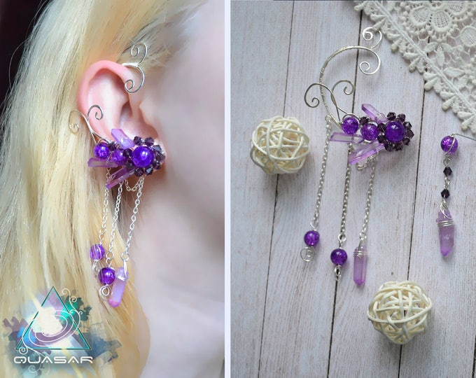 "Ear cuff ""Twilight Sky"" | Wire ear cuff, crystals boho jewelry, elven ear cuffs, boho earcuff, purple crystals earrings, fairy, elvish, elf"