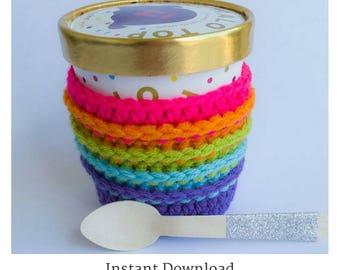 Ice cream cozy pattern - ice cream pint crochet sleeve pattern - crochet pattern - crochet how to - crochet gift pattern - quick crochet