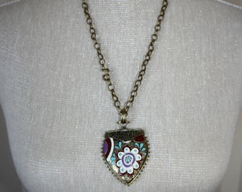 Two Sided Reversable Peace and Love Chunky Bronze Necklace