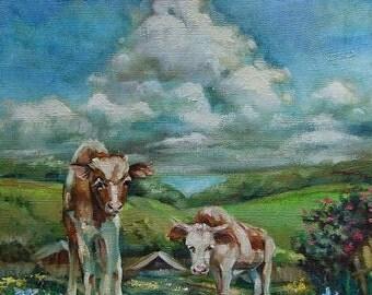 Picture Original Oil Painting-Rural Landscape Cloud- Veau Vache