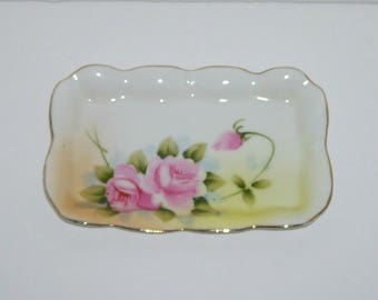 Nippon Small Porcelain Mint Tray Trinket Dish Pink Rose Flowers