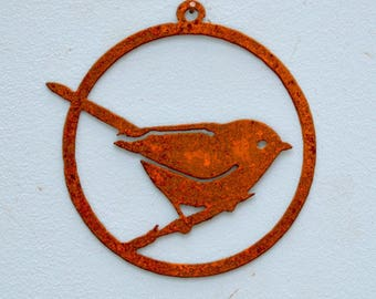 CO101 Bushtit Window Ornament (3.25 inch) | Rustic Cottage Chic Bushtit Window Ornament | Rusty Birds by Elegant Garden Design