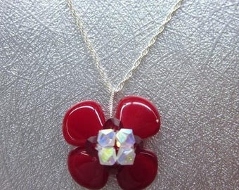 Red and Crystal Beaded Flower Blossom Necklace