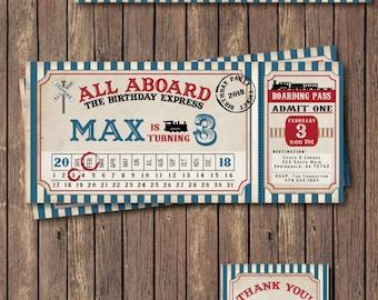 Train Birthday Invitation. Train Invitation. Train Party. Train Birthday Party. Vintage Train Ticket - DIY Printable or Printed Invitation