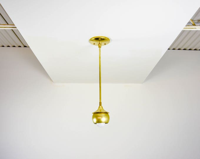 Free Shipping! Raw Brass Gold Pendant Light Trumpet Spherical Metal Shade Vanity Modern Mid Century Industrial
