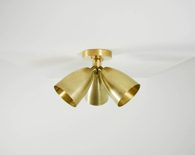 Modern Semi Flush Raw Brass Gold 3 Bulb Angled Bell Cover Metal Shade Vanity Modern Mid Century Industrial Modern UL Listed