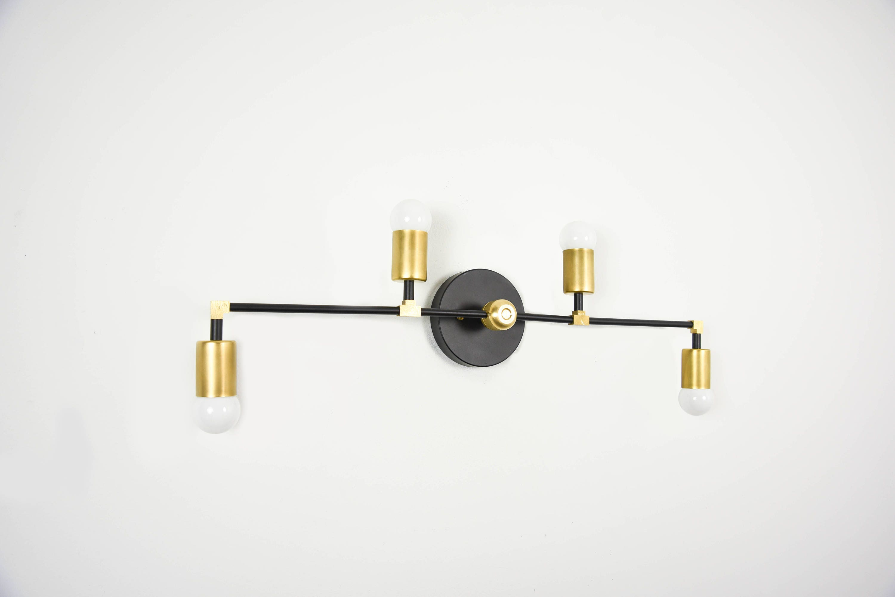 Wall Sconce Vanity 4 Light Wall Sconce Black And Brass