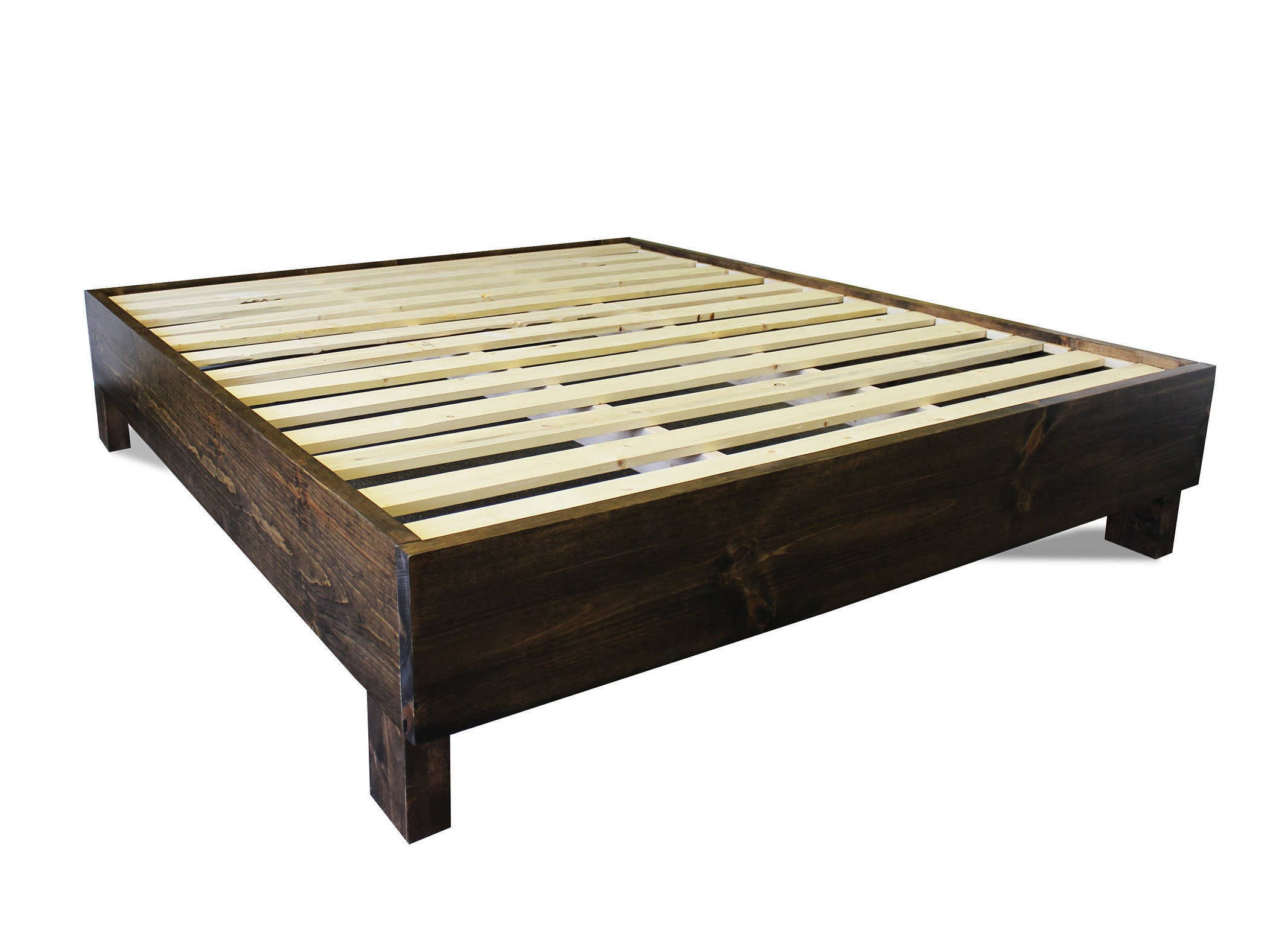 Rustic platform bed frame old world reclaimed wood style - Bed frame styles types ...