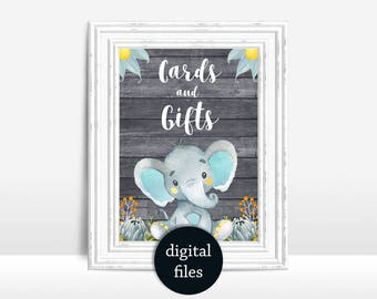 Cards Gifts sign Baby Shower, Elephant Baby Shower table Sign Printable Cards & Gifts sign Elephant baby shower decoration digital file