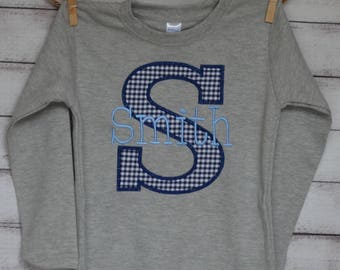 Personalized Applique Initial with Name Applique Shirt or Onesie Boy or Girl