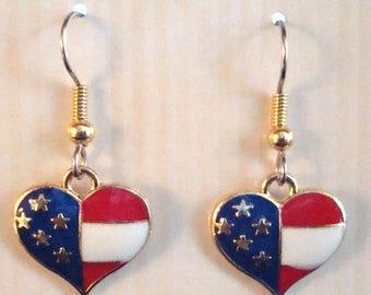 Patriotic heart earrings, enamed earrings, heart earrings, hypo allergenic earrings
