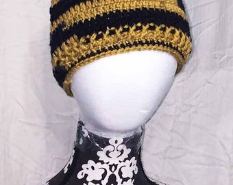 Saints Inspired Crochet Black and Gold Messy Bun Hat/Ponytail Hat