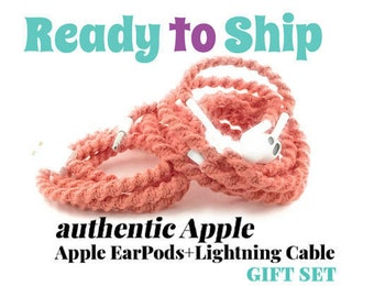RTS Valentines Day Gift Set for Her iPhone 6 Charger Cable & Wrapped Tangle Free Earbuds EarPods Headphones for iPhone in CORA