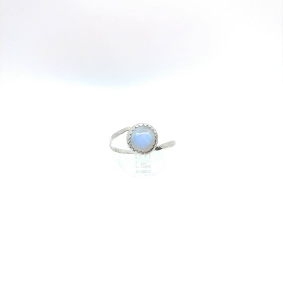 Rainbow Moonstone Ring | Sterling Silver Ring Sz 9.5 | Simple White Ring | June Birthstone Ring | Simple White Stone Ring | Blue Moonstone