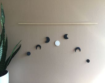 Moon Phases Black and White Lunar Phase Moon Child Modern Boho Bohemian Wall Hanging Decor Wood Banner Garland Bedroom Living room gift idea